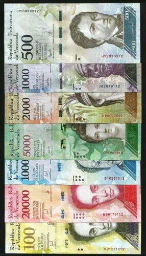 100000 700 Venezuela Banknotes 500-100,000 Bolivares 2016-2017 aUNC