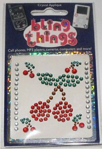 Cherry Cherries Crystal Appliqué Cell Phone BLING THING iPhone Sticker BBS119