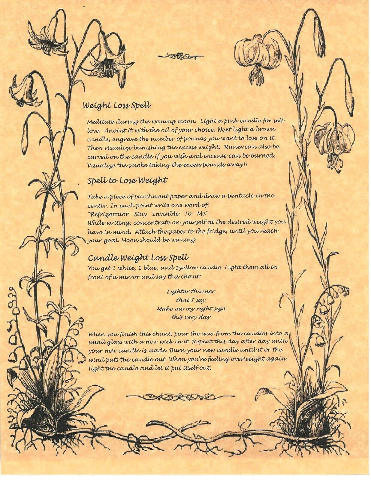 Book of Shadows Spell Pages ** Wiccan Weight Loss Spells ** Wicca