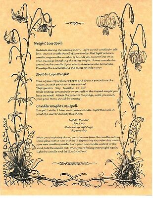 Book of Shadows Spell Pages ** Wiccan Weight Loss Spells