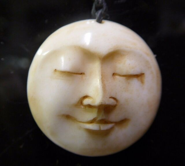 Full Moon Face Eyes Closed Carved Water Buffalo Bone 25mm Round Pendant Amulet For Sale Online Ebay