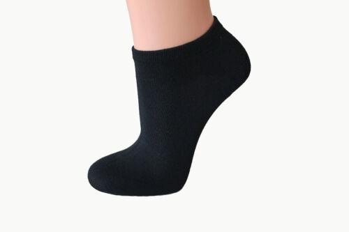 5/% Elasthan uni 12 Paar Damen Sneaker Socken schwarz 80/% Baumwolle