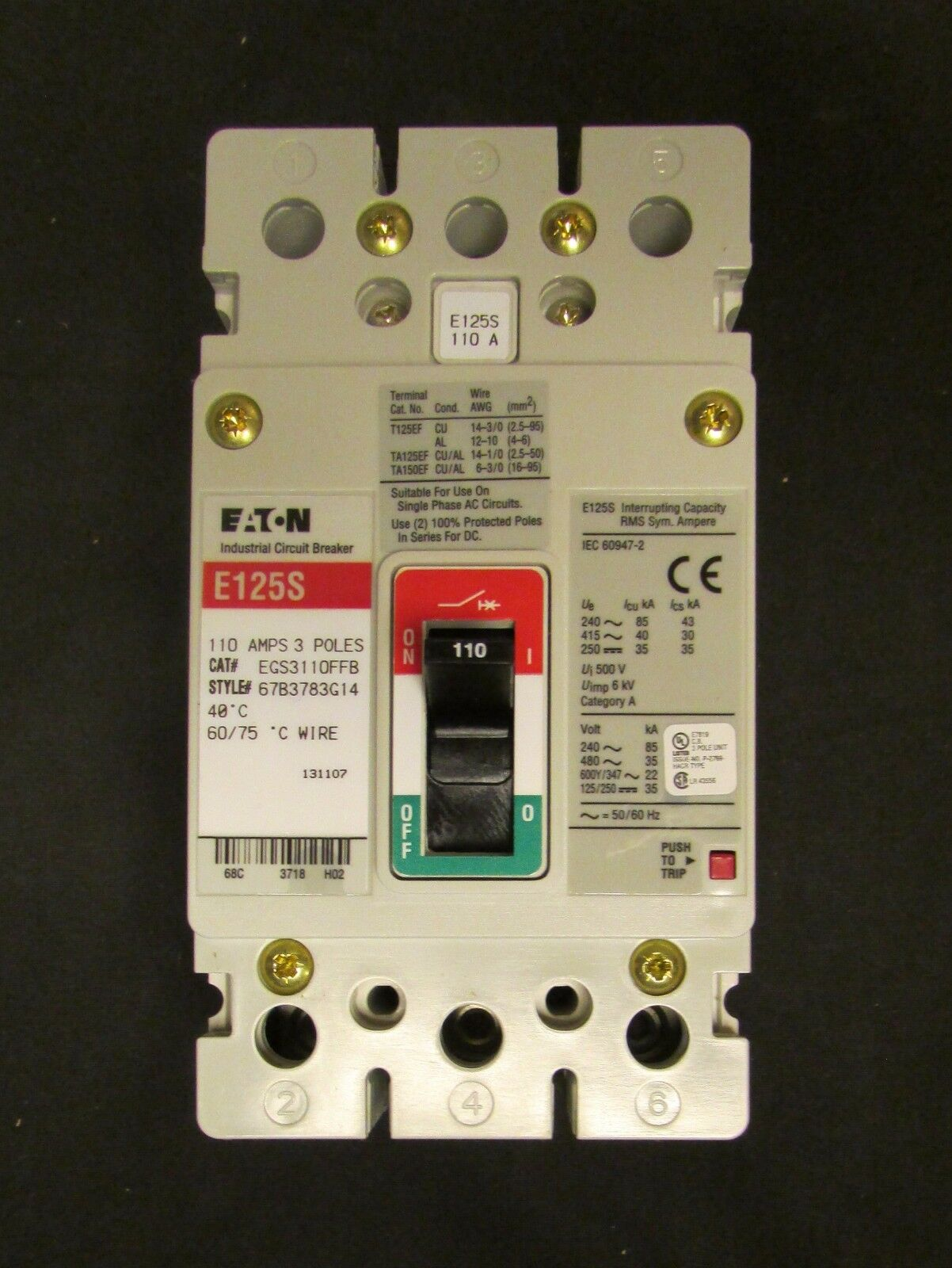 Eaton Cutler Hammer Type E125s Circuit Breaker 3 Pole 110 Amp Panel Wiring Diagram Norton Secured Powered By Verisign
