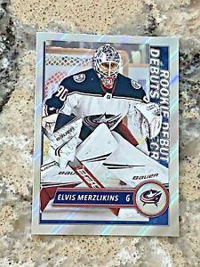 2020-21 Topps FOIL Rookie Debut Elvis Merzlikins Blue Jackets Hockey Sticker 536