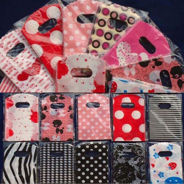 Newest 50pcs Wholesale Pretty Mixed Pattern Plastic Gift Bag Shopping Bag 15X9CM