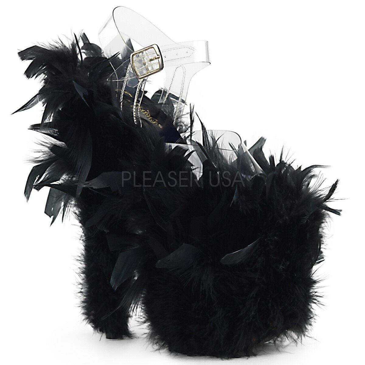 Pleaser Flamingo - 808F para Mujer Mujer Mujer Claro Negro Correa de Plataforma de plumas de marabú Sandalias  alta calidad general