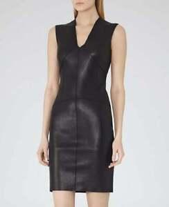 Women's 100% Genuine Black Leather New Designer Sleeveless Dress