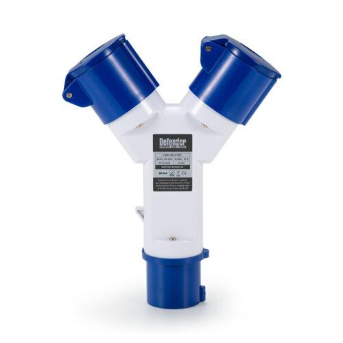 Sockets 110v or 240v Defender 2-Way Splitter Adaptor 16amp Plug Qty Discount