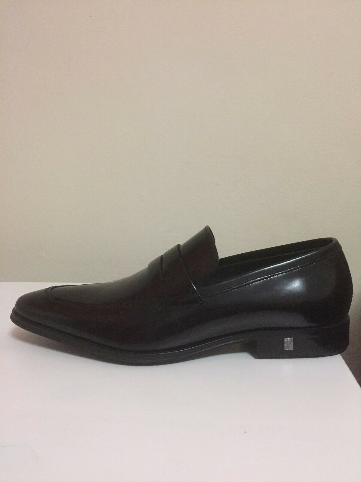 Versace Collection nero Patent Leather Dress scarpe Loafers Mens Sz 7