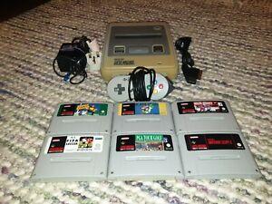 Super Nintendo SNES Console Bundle Inc. 6 Games Mario