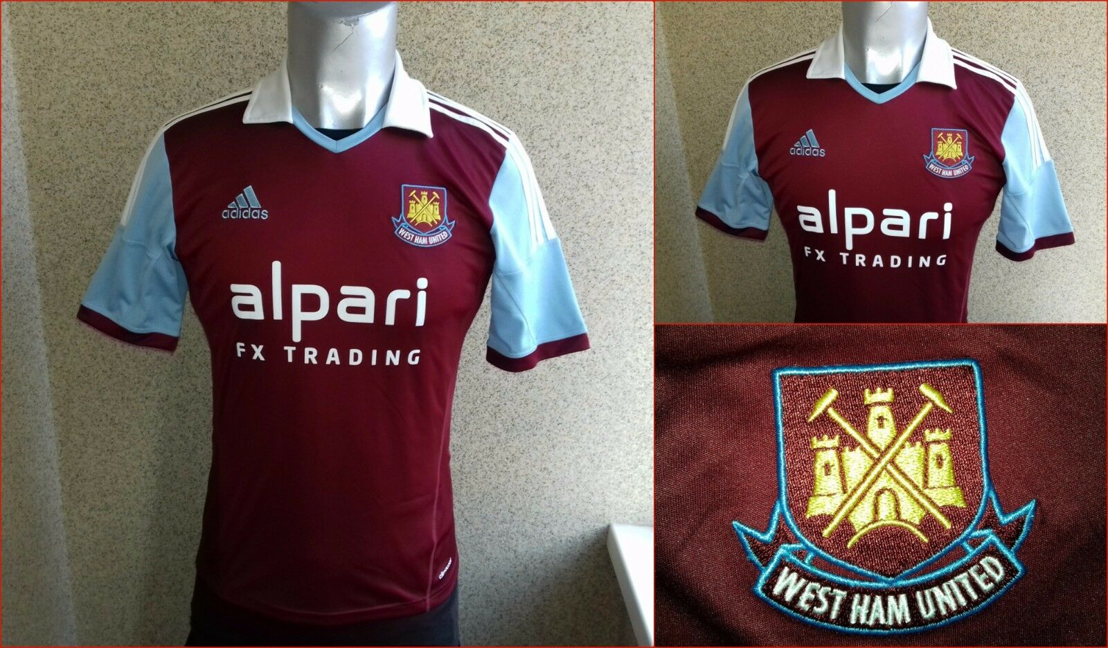 West Ham United 2013 2014 England  Home football shirt S Jersey Adidas