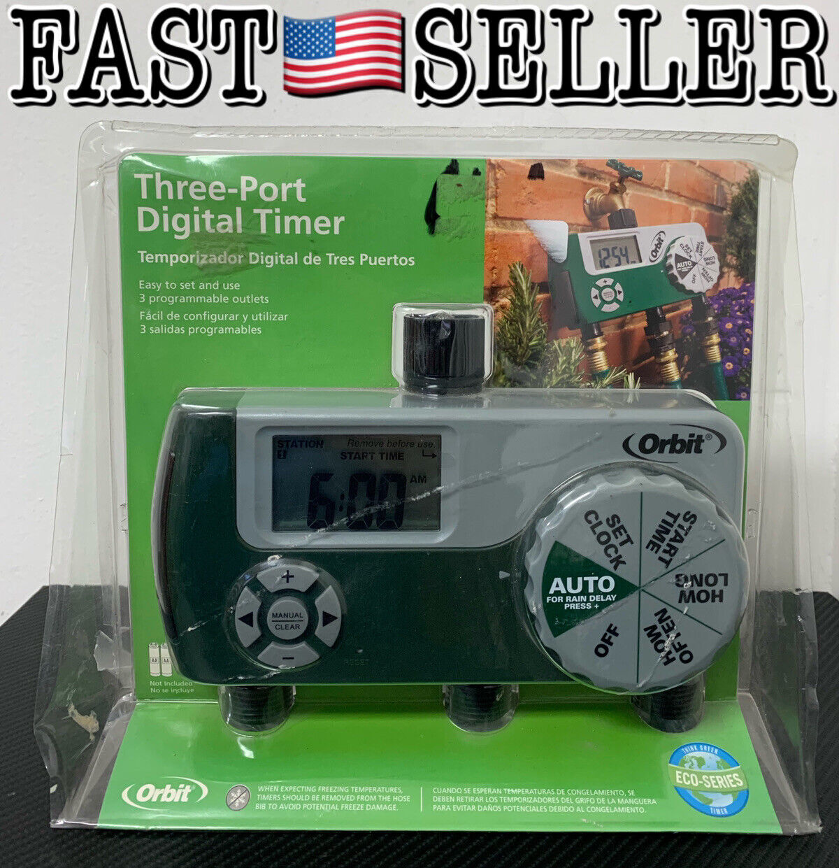 Orbit 56497 Three (3) Port Programmable Digital Easy To Use Watering Timer - NEW