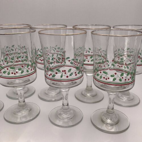 8 Vintage Arby/'s Libbey Ribbon Stem Glasses Holly Berry Gold Christmas Glass