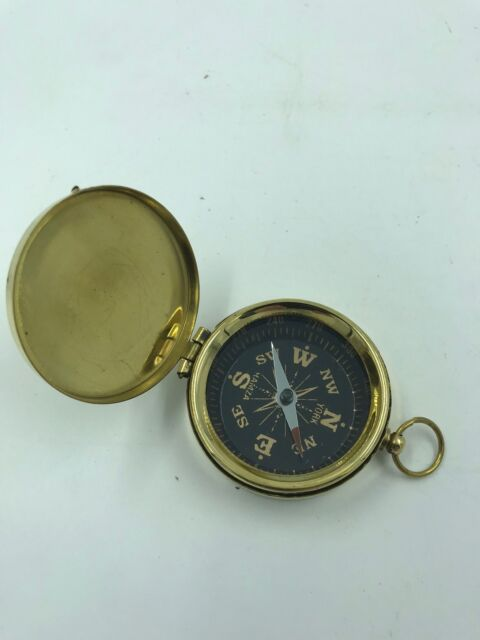 Old Nautical Pocket Necklace US Vintage Brass Dalvey Style Compass with Lid