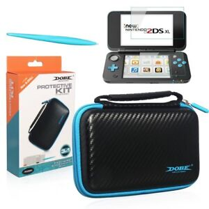 Black-Protective-kit-for-New-Nintendo-2DS-XL-Case-Screen-Protector-Stylus