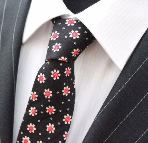 Tie Cravatta Slim Nero con Rosso E Bianco Fiore cotone di alta qualità T6047