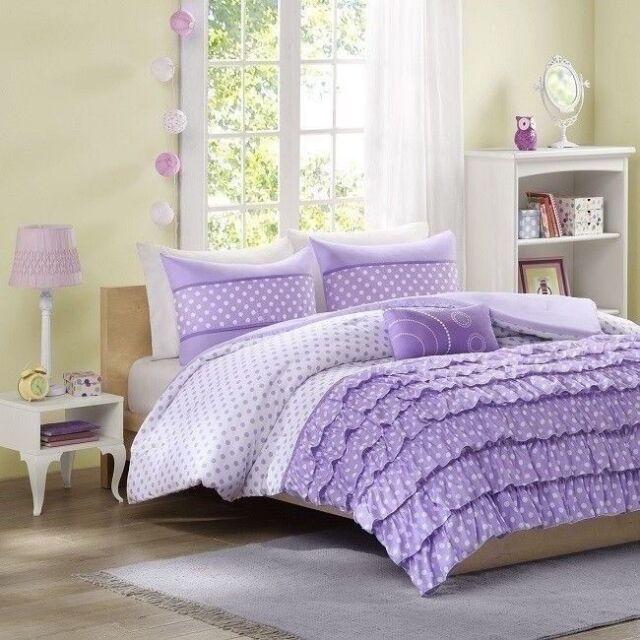Delightful Purple Comforter Set For Girls Feminine Girly Bedding Sets Cute Girl Bed  QUEEN