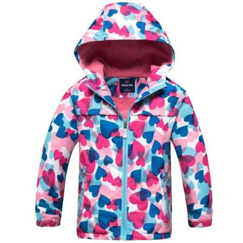 Kids Boys Girls Windbreaker Waterproof Jacket Rain Coat Hooded Zipper Outwear