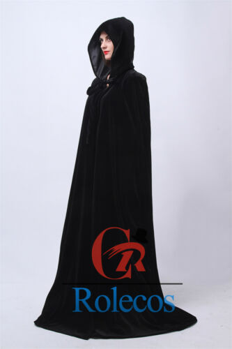 Women Hooded Velvet Cloak Gothic Wicca Robe Medieval Larp Cosplay Cape 5 Colors