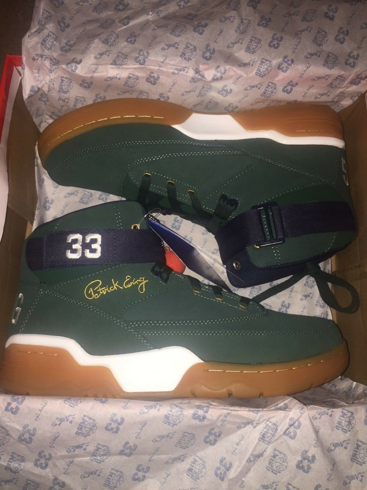 Patrick Ewing Athletics Hi 33 Olive Suede Gum Basketball Chaussures 1EW90212-363 8-13