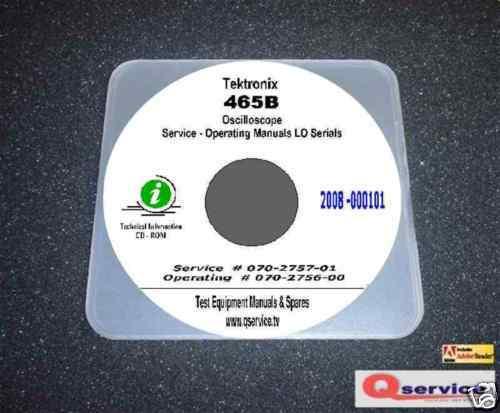 "ops Manual 17/""x11/"" Diagrams CD Tektronix 465B Oscilloscope LO Serials Service"
