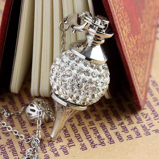 Clear Crystal Rhinestone Ball Charm Healing Dowsing Reiki Chakra Pendulum +Chain