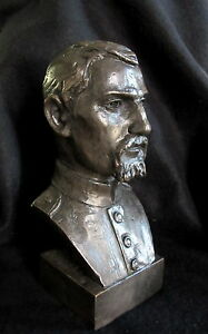 Bronze-Lost-Wax-Cast-Sculpture-Portrait-Civil-War-Soldier-Figure-Bust-Original