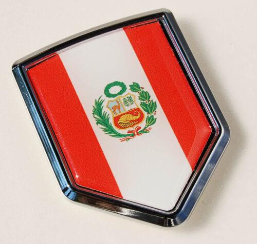 Peru Peruvian Flag Car Chrome Emblem 3D Decal Sticker