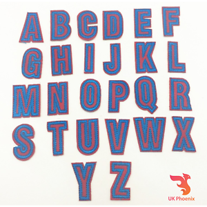 A to Z Letras Alfabetos parches de hierro en apliques Bordados Parche 30mm palabras UK