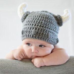 cad61ad01fd00 Handmade Baby Kids Viking Hat Crochet Devil Horns Cap Knitted Beanie ...