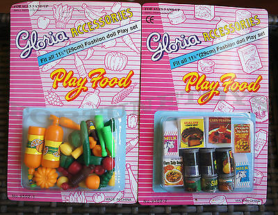 GLORIA DOLL HOUSE FURNITURE Fridge Food + Vegetables PlaySets For Barbie
