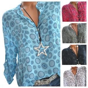 Made-in-Italy-Langarm-Bluse-Damen-Tunika-Top-Hemd-Shirt-Mandala-Fischerhemd