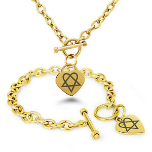 Stainless-Steel-Heartagram-Love-Death-Symbol-Heart-Charm-Bracelet-Necklace-Set