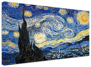 Quadro-moderno-Van-Gogh-Notte-Stellata-S60-Arte-Arredo-Stampa-su-tela-Intelaiato