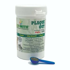 Plaque Off PLAQUE OUT  Dogs and Cats - Bad Breath and Tartar Removal 100G Powder 8438474825553
