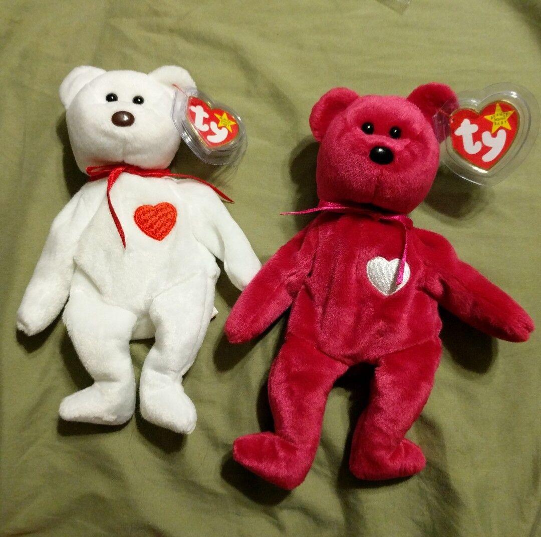 Ty Valentino and Valentina Beanie Baby bear