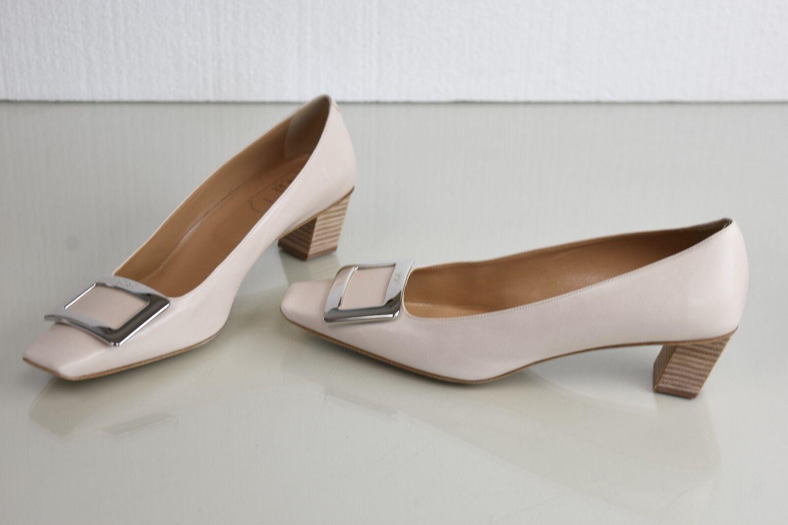 NEW Roger Vivier Belle Decollete Leather Pumps Buckle Nude Beige Heels Shoes 40