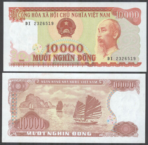 10000 Dong 1993 Banknote Note P 115a P115a VIETNAM UNC