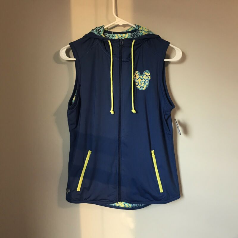 Brilliant Disney Parks Athletic Vest Womens Sz S Blue Mosaic Print With Hood Full Zip Nwt Punctual Timing