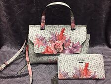 GUESS Ashville Bag FLORAL White PINK ROSES Mini Satchel CROSSBODY Purse & Wallet