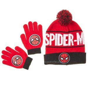 af4f995ef89 Details about NWT Marvel Spider-Man Boys Red Winter Snow Beanie Pom Pom Ski Hat  Cap Gloves Set