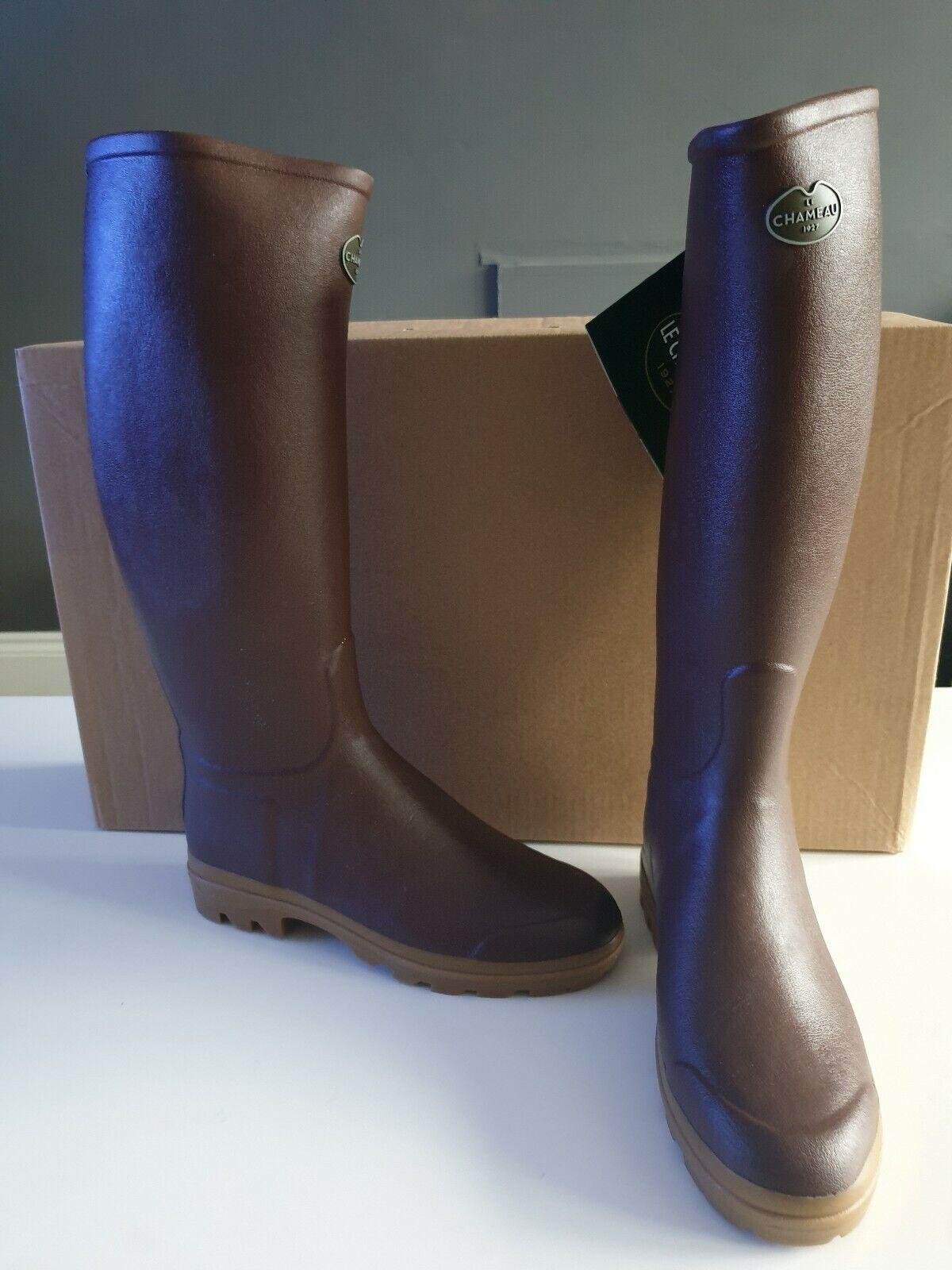 Le Chameau para mujer St Hubert Cuero forrados con botas Reino Unido 6 marrón RRP