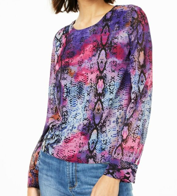 BAR III Women's Blouse Purple Pink Size XS Twist Back Snake Print $59 #421