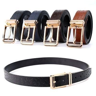 Ostrich Belt Men Cummerbunds Gold Metal Waist Pure Leather Accessories Black