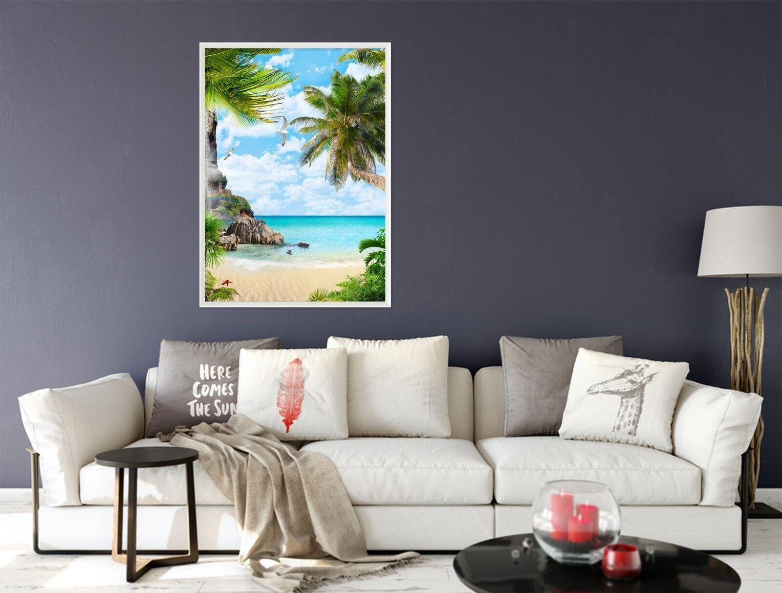 3D Beach Sea Stones 51 Framed Poster Home Decor Print Painting Art AJ UK