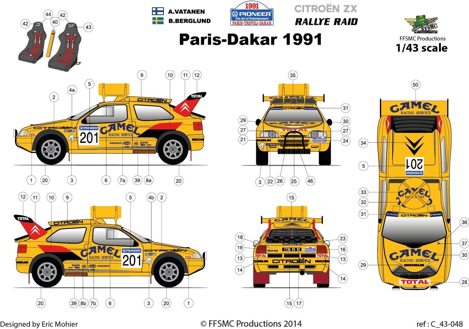 [FFSMC Productions] Decals 1/43 Citroën ZX Vatanen-Berglund #201 Paris-Dakar Paris-Dakar Paris-Dakar 91 61322e
