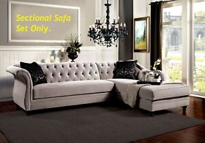 Image Is Loading Traditional Formal Tufted Warm Gray Fabric Sectional Sofa