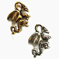 Dragon Charm Antiqued Gold Pewter 21x14mm 4 Charms Pc2
