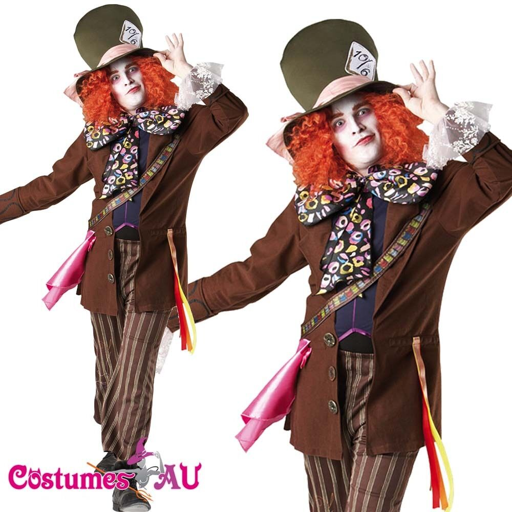 Alice In Wonderland Mad Hatter Men Adult Fancy Dress Halloween Costume