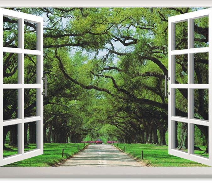 3D Grünes Baum Fenster 933 Tapete Wandgemälde Tapete Tapeten Bild Familie DE | Komfort  | Zahlreiche In Vielfalt  | eine große Vielfalt